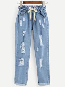 Blue Distressed Roll Hem Drawstring Jeans