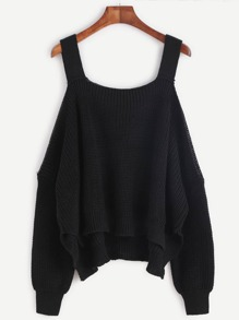 Black Cold Shoulder U Back Long Sleeve Sweater