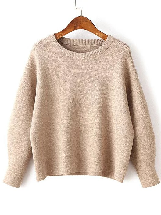 Khaki Round Neck Ribbed Trim Drop Shoulder Knitwear sweater160824207