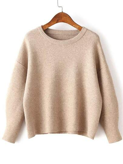 Pull tricoté à côte col rond manche longue - kaki