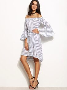 White Striped Bell Sleeve Belted Off The Shoulder Dress