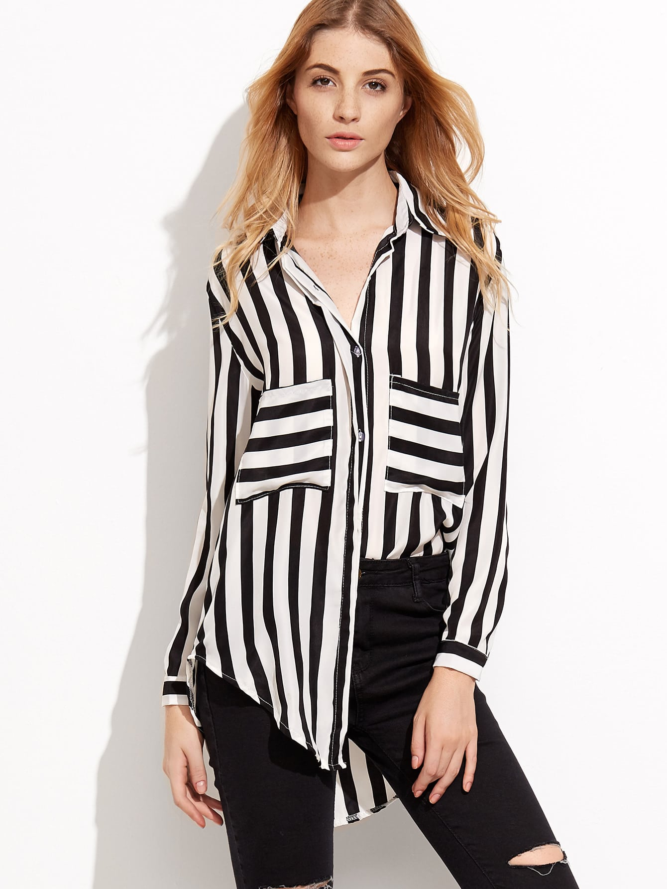 Contrast Striped Pockets High Low Shirt blouse160825002