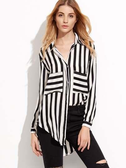 Chemise à rayure contrasté avec poche - noir et blanc