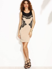 Apricot with Black Lace Cut Out Back Sheath Dress