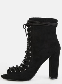 Stacked Lace Up Ankle Booties BLACK