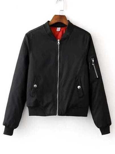 Black Zipper Bomber Jacket With Arm Pocket