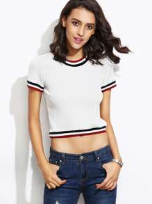 Striped Trim Ribbed Crop Tee