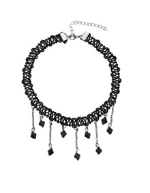 Black Hanging Beads Choker Necklace