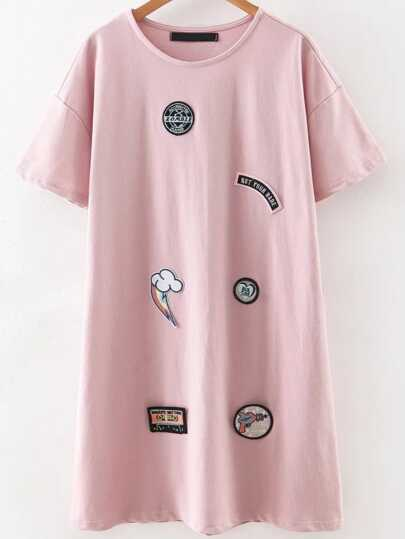 Pink Round Neck Patch Tee Dress