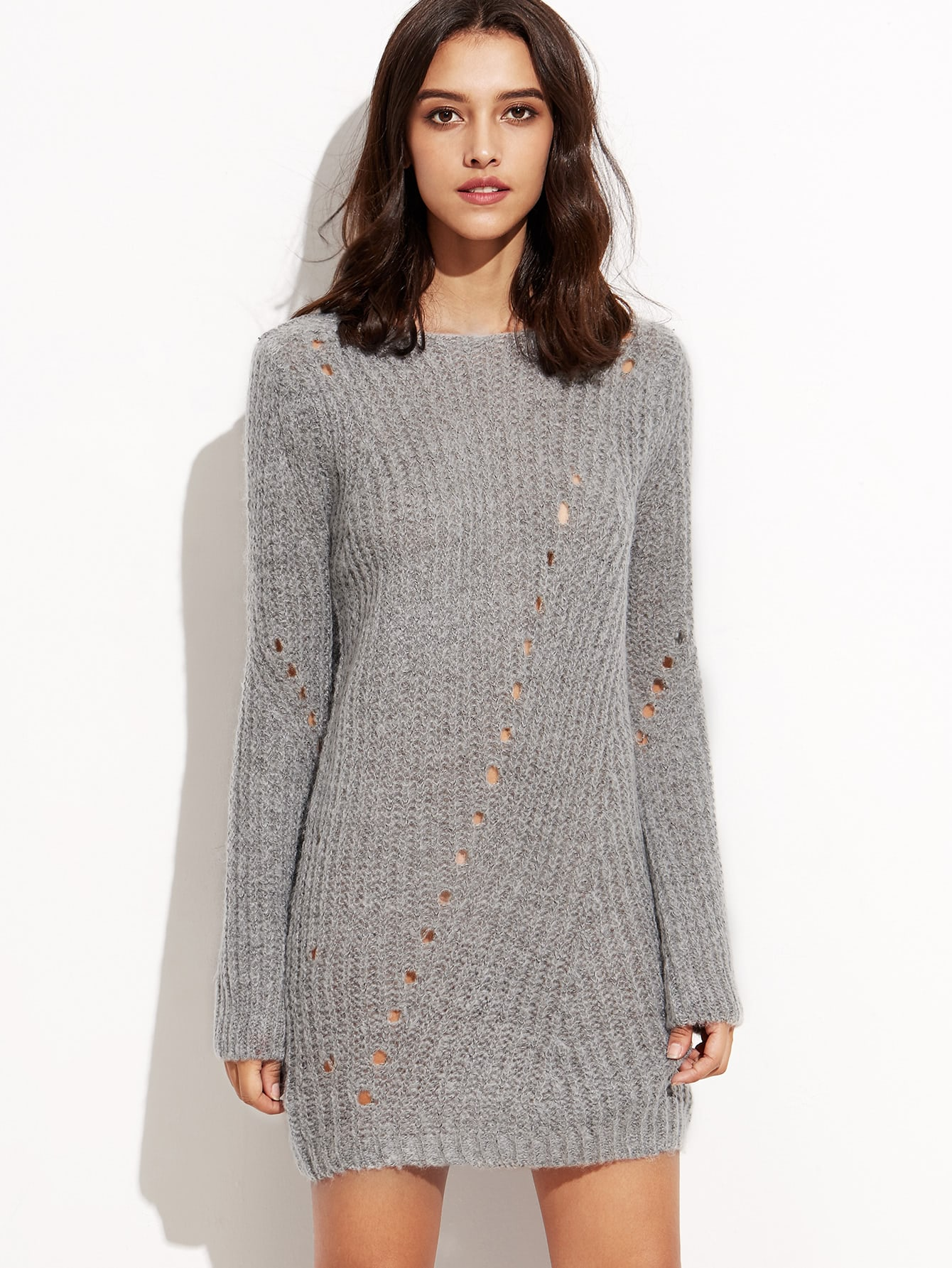 Grey Long Sleeve Eyelet Sweater Dress