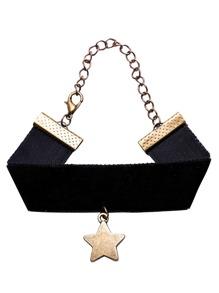 Bracelet large avec pendentif forme en étoile - noir