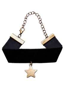 Black Wide Ribbon Star Pendant Bracelet