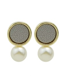Gray New Coming Imitation Pearl Small Stud Earrings