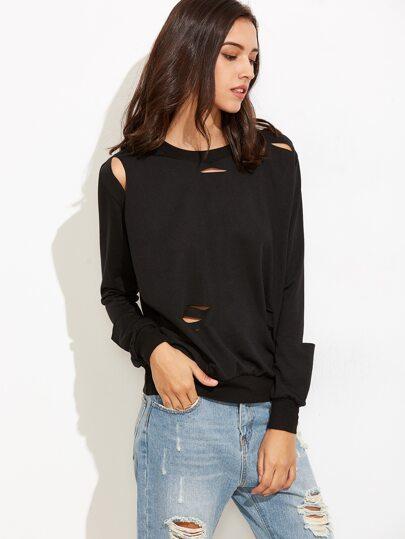 Black Long Sleeve Distressed Sweatshirt