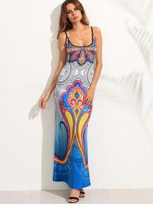 Blue Spaghetti Strap Tribal Print Maxi Dress