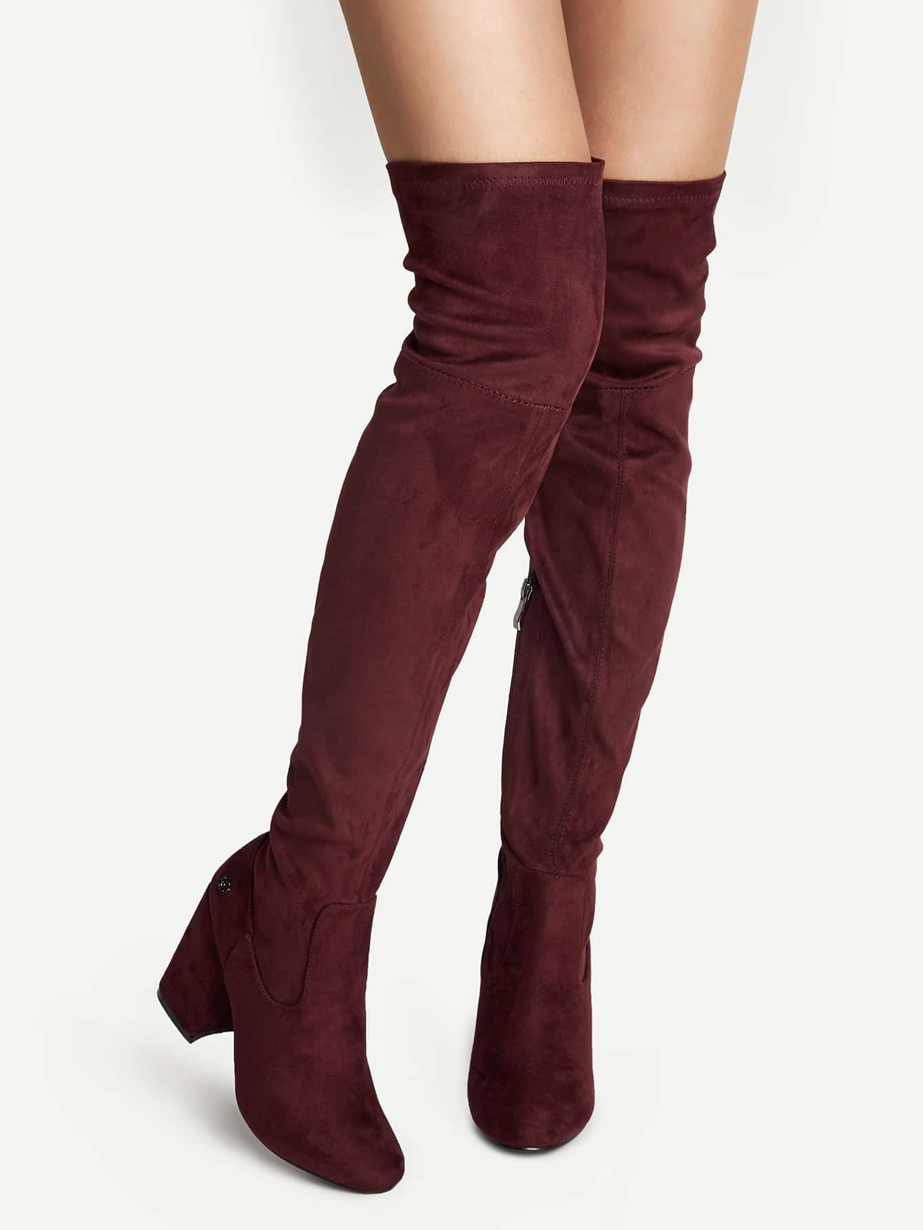 Burgundy Faux Suede Point Toe Over The Knee Boots shoes16082404