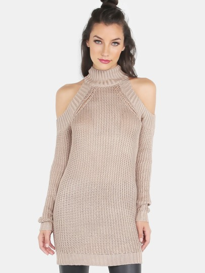 Turtleneck Knit Cold Shoulder Tunic Dress COCOA