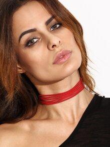 Red Multi Strand Cord Choker Necklace