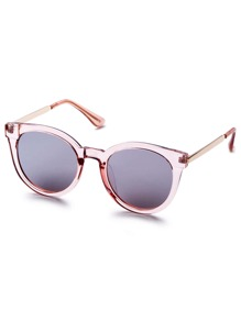 Pink Clear Frame Metal Arm Retro Style Sunglasses