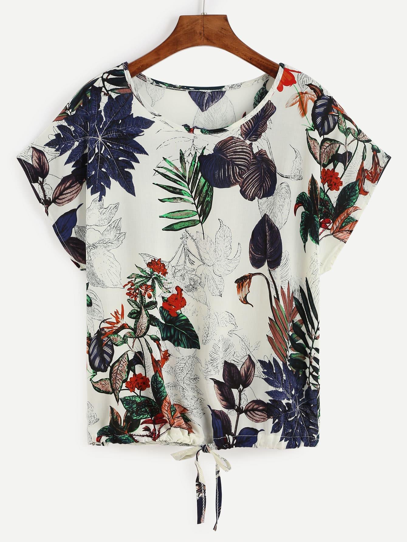 Tropical Print Drawstring Hem T-shirt