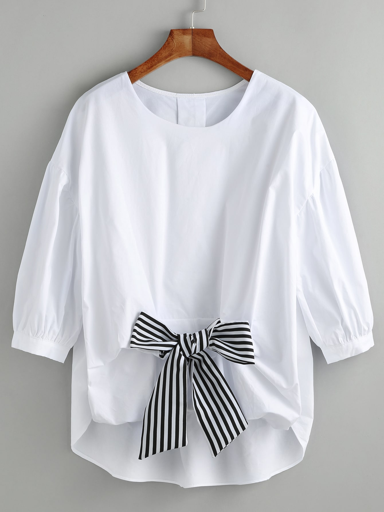 White High Low Blouse With Contrast BowWhite High Low Blouse With Contrast Bow<br><br>color: White<br>size: one-size
