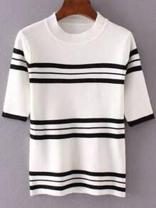 White Striped Crew Neck Ribbed Trim Knitwear