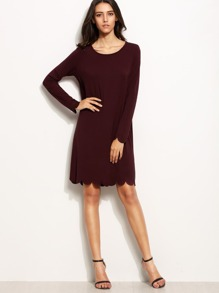Burgundy Scallop Trim Long Sleeve Shift Dress