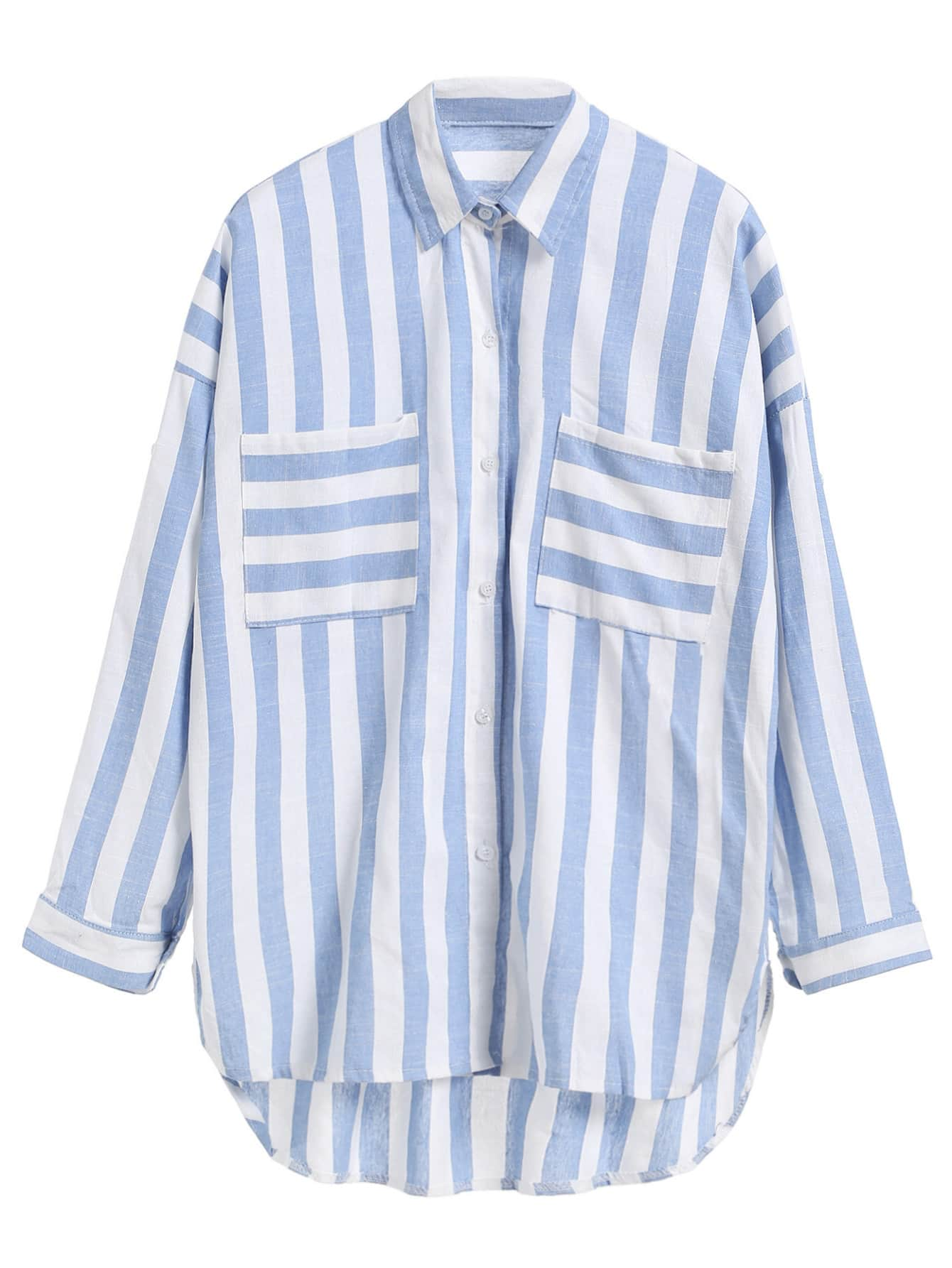 Blue Striped Dip Hem Shirt With Pockets blouse160831126