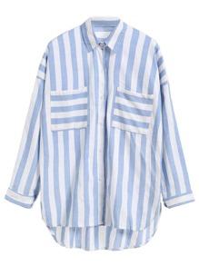 Blue Striped Dip Hem Shirt With Pockets