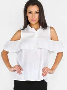 Open Shoulder Flare Sleeve Top WHITE