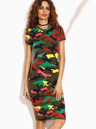 Multicolor Camo Print Pencil Dress