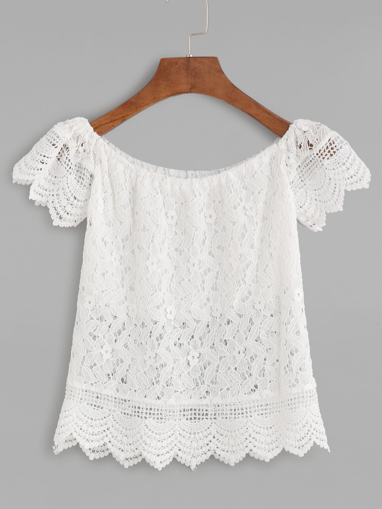2c89f15c63 Boat Neck Crochet Lace Scalloped Hollow Out Blouse · Hollow Out Tassel Hem  Top · Hollow Out Lace Panel ...