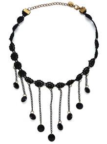 Black Fringe Pendant Lace Choker