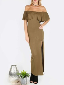 Army Green Off The Shoulder Ruffle Sleeve Split Dress