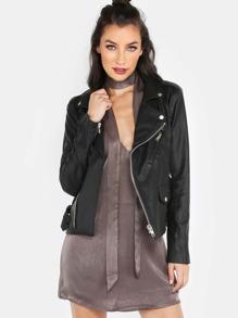 Faux Leather Moto Jacket BLACK