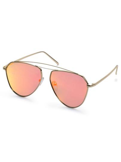 Gold Metal Frame Iridescent Lens Aviator Sunglasses