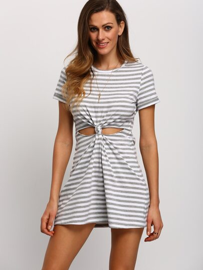 Grey white Stripe Cut-out Knotted T-shirt Dress