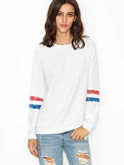 White Long Sleeve Print T-shirt