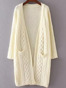 Beige Collarless Cable Knit Pocket Sweater Coat