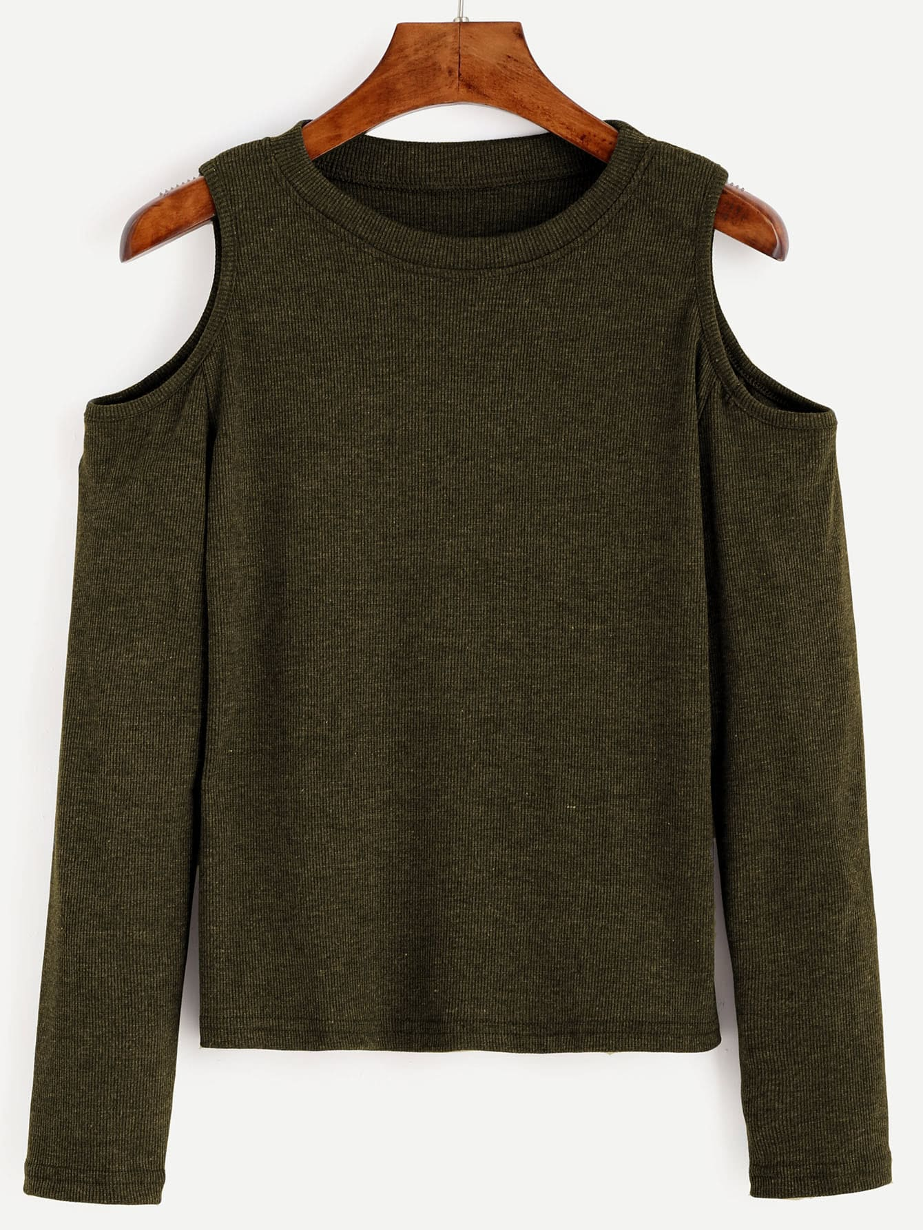 Army Green Open Shoulder Knit T-shirtArmy Green Open Shoulder Knit T-shirt<br><br>color: Green<br>size: M,S
