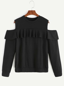 Black Open Shoulder Ruffle Sweatshirt