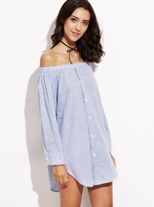 Blue Vertical Striped Off The Shoulder Shirt Dress