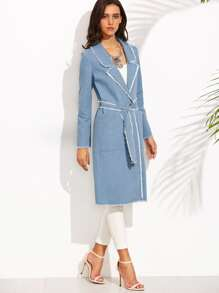 Blue Lapel Raw Trim Tie Waist Long Outerwear