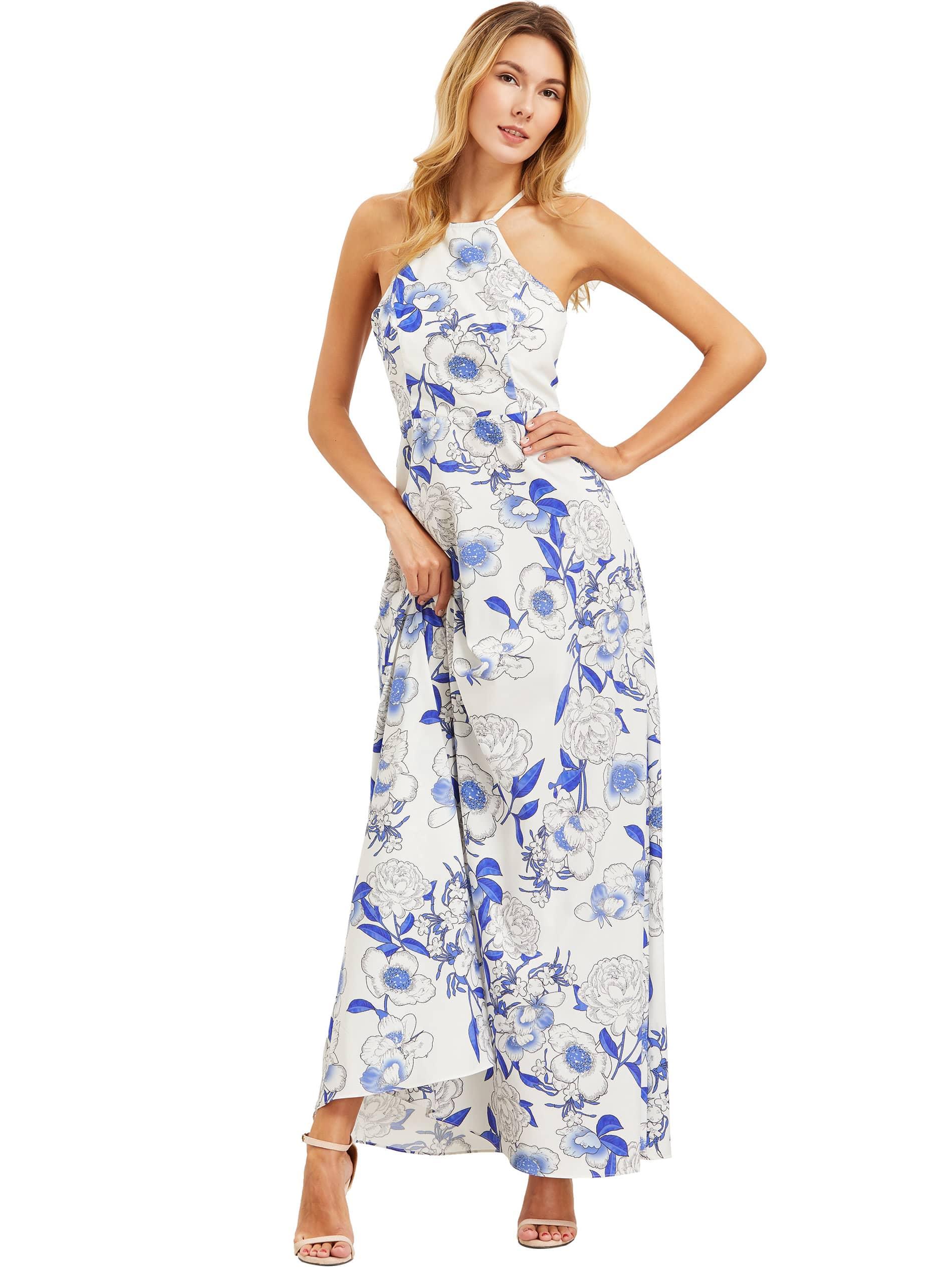 Фото White Halter Neck Floral Print Maxi Dress. Купить с доставкой