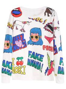 White Cartoon Print Sweatshirt