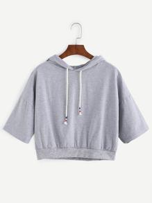 Grey Dropped Shoulder Hooded Crop Sweatshirt