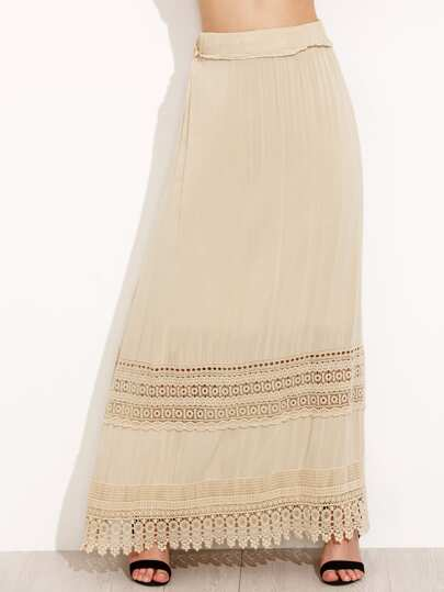 Crochet Lace Trim Full Length Skirt