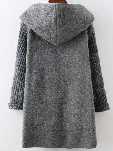 Contrast Sleeve Hooded Sweater Coat -SheIn(Sheinside)