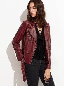 Burgundy Faux Leather Buckle Hem Asymmetric Hem Biker Jacket