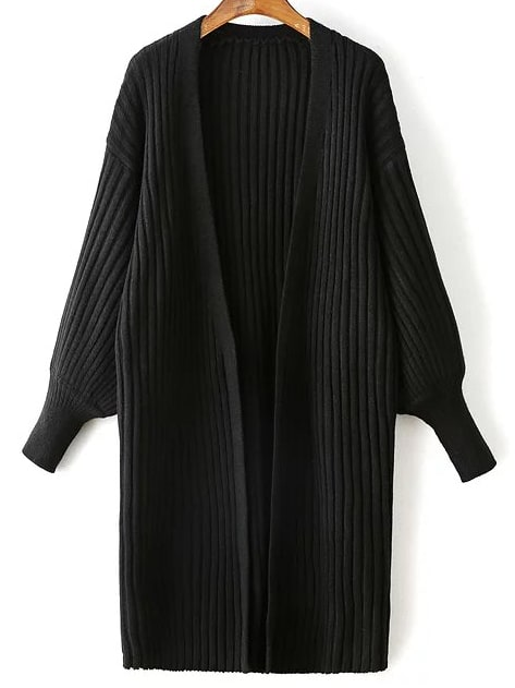 Black Ribbed Drop Shoulder Lantern Sleeve Cardigan sweater160831219